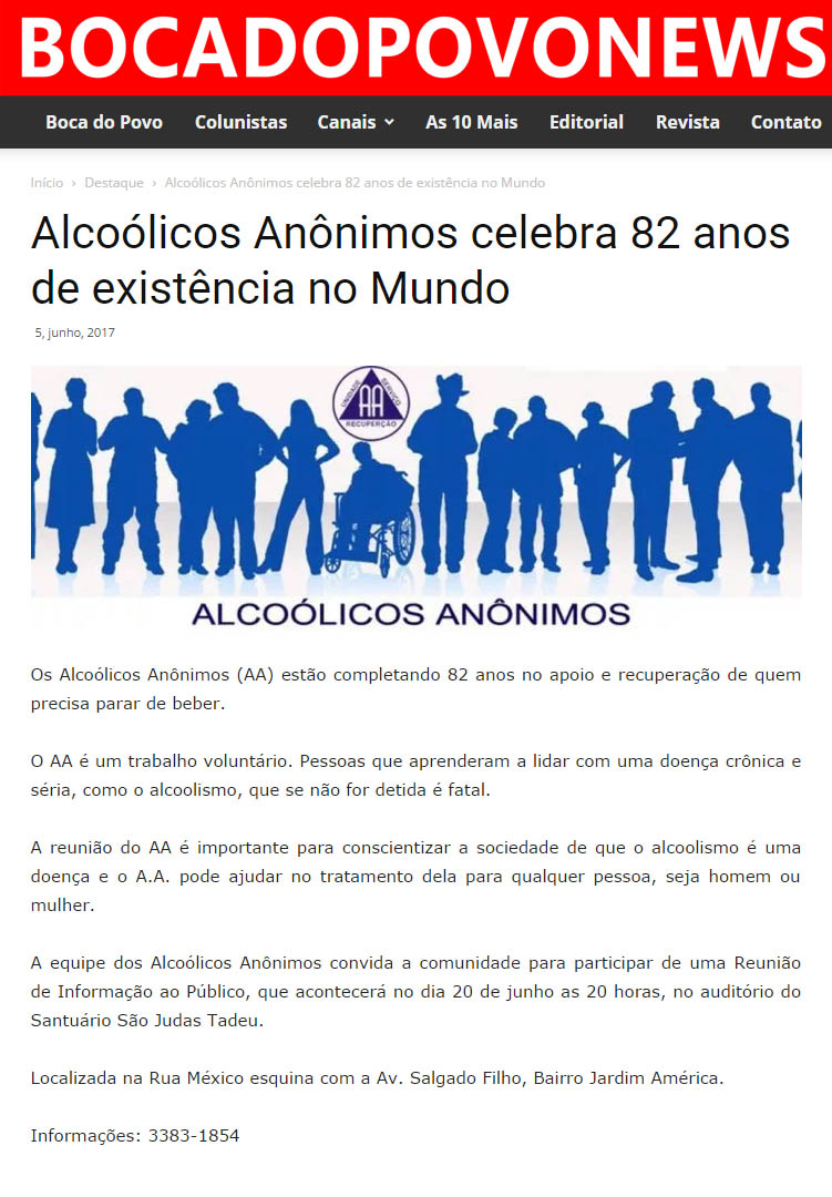 Alcoólicos anônimos celebra 82 anos de existência no mundo