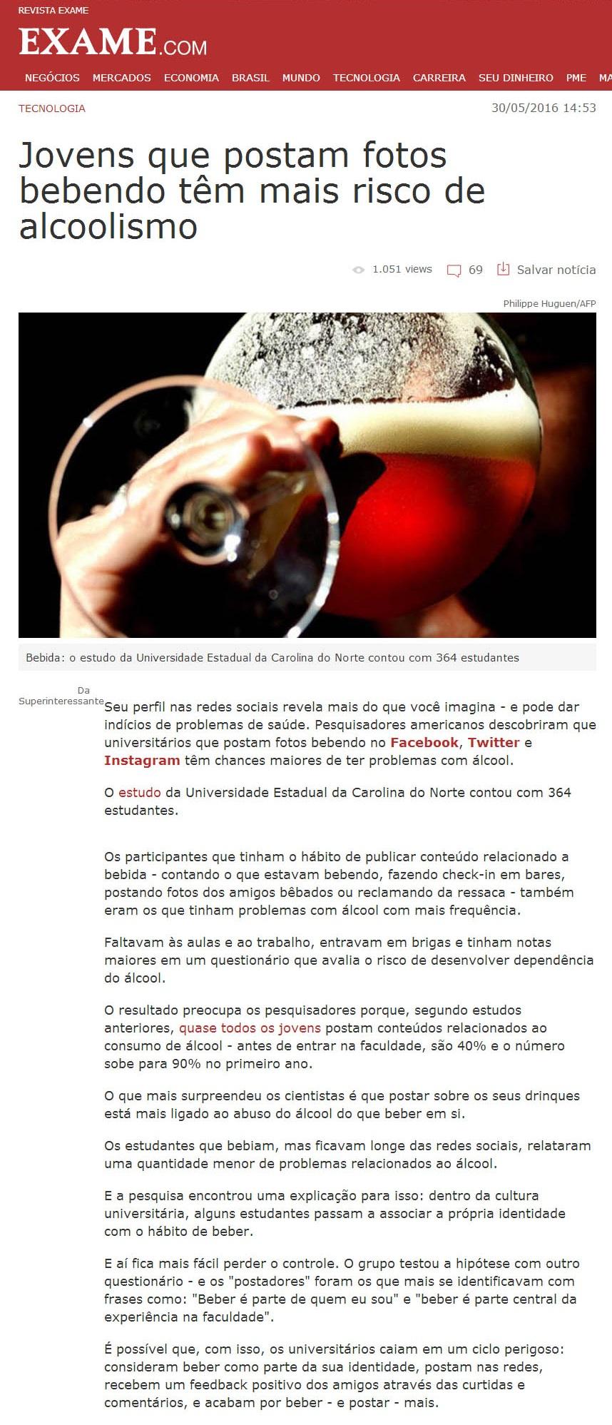 Jovens que postam fotos bebendo têm mais risco de alcoolismo.